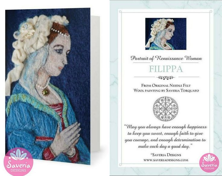 Filippa Renaissance Card with Inspirational Quote Insert by Saveria Designs