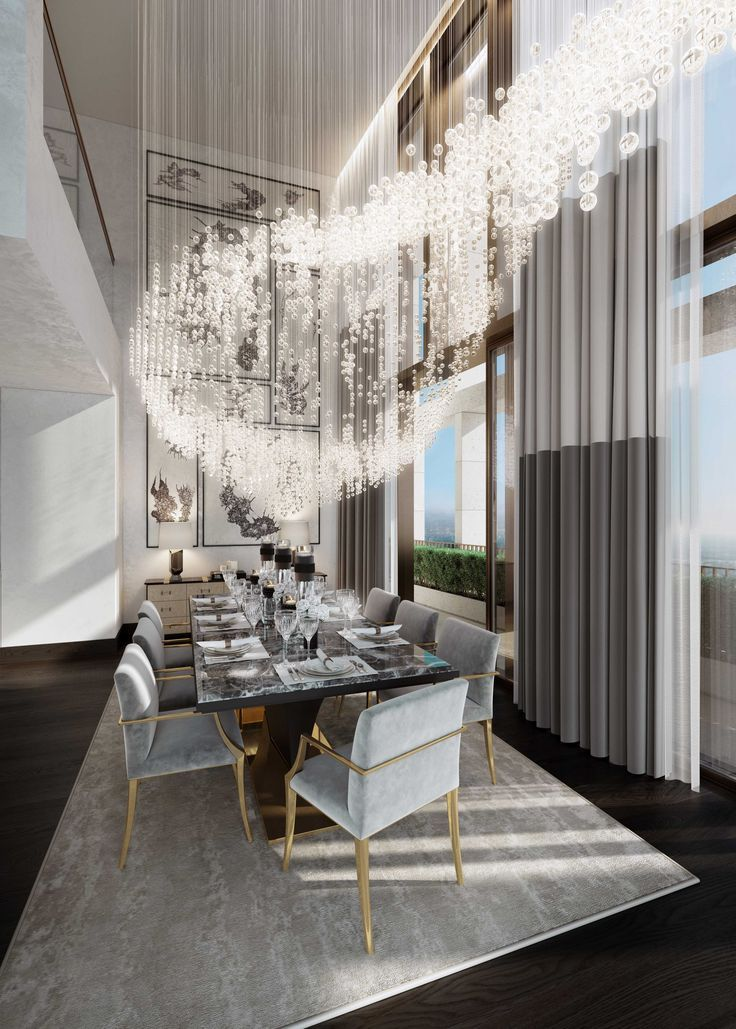 Memphis Modern Simple Dining Room: Extra Large Chandelier With Crystals