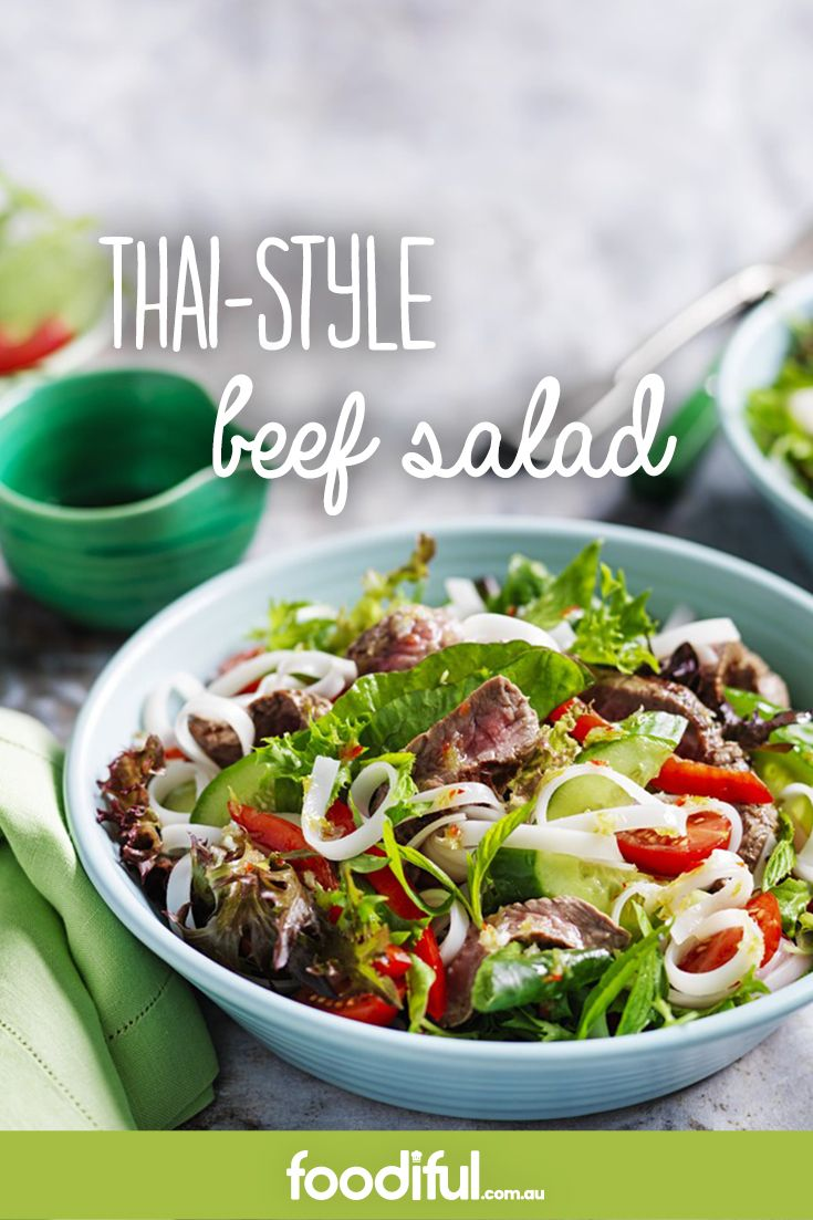 This beef salad makes for a light dinner that doesn't skimp on flavour. With a coconut, chilli & lime dressing, it's zesty, fresh & easy. This Thai salad recipe takes 15 minutes and serves two people. It's also diabetic-friendly.