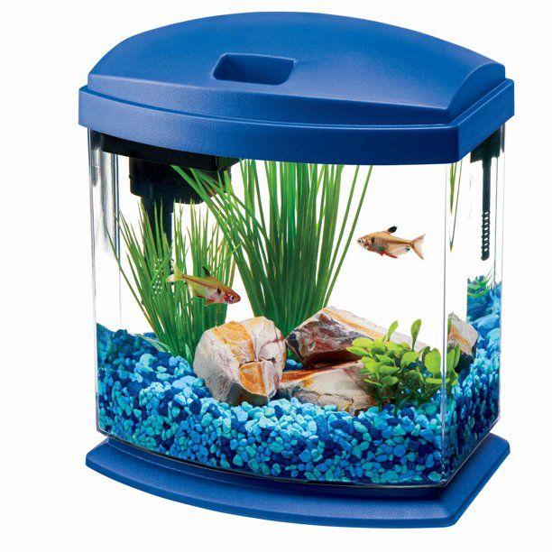 Aqueon Minibow Aquarium Led Starter Kit 1 Gallon Blue Walmart Com In 2020 Cool Fish Tanks Aquarium Fish Unique Fish Tanks