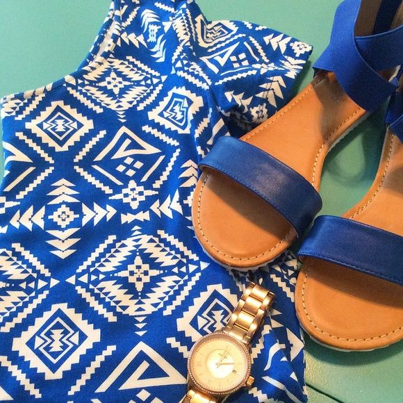 Aztec Mini Dress Cobalt blue bodycon dress. Stretchy, comfortable fit. Medium, but fits more like a small. Worn once! Dresses Mini