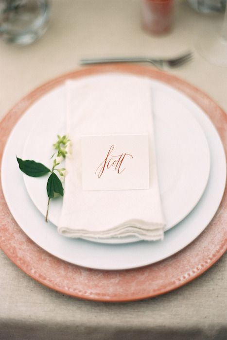 10 Ideas for Charger Plates // For a wedding with a Mediterranean flair, these clay plates will fit the bill. It gives a rustic and homely edge to an otherwise classic table setting. If you can find matching pitchers it will complete the look.