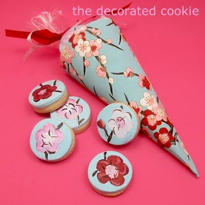 painted cookies in paper cones (featured in the October issue of BRIDES)