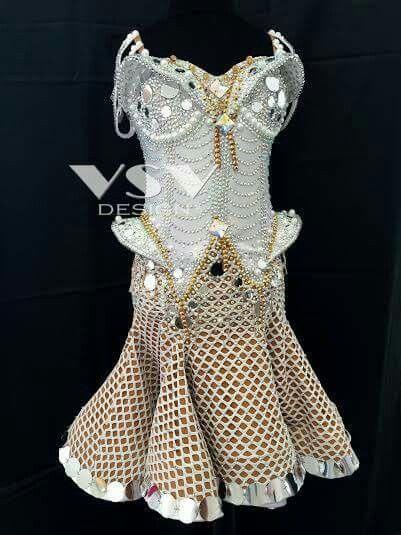 Unique design white junior II latin dress by VSV Design , gold\silver embelishment