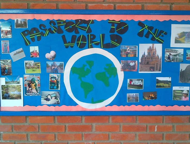 Social Studies Classroom Door Decorations ~ Bulletin board for books read in class based on settings
