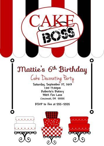 Cake Cupcake Boss Birthday Party Invitation Cake Decorating Party | ajinvites - Cards on ArtFire