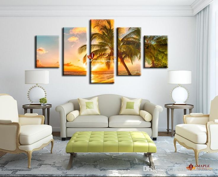 5 Piece Modern Paintings On Canvas Sunset Seascape Inclued Coco Beach HD  Picture Cheap Modern Canvas Art For Living Room Part 56