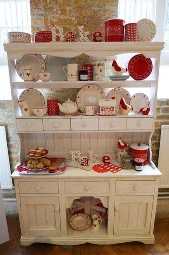 #DesignPinThurs : red & white, bake prep/organzing station -country theme kitchen