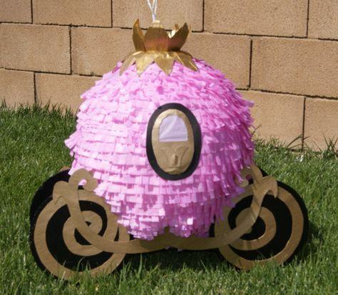 PRINCESS CARRIAGE PINATA diy with balloon, glue, and paper