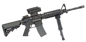 M4A1 Carbine, 5.56mm. The shortened barrel allows for close quarters combat.