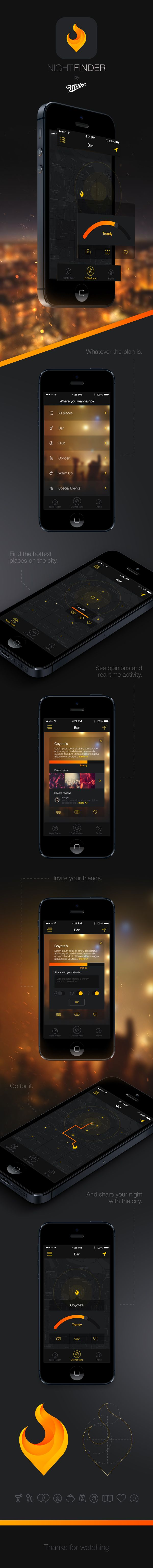 Night Finder App by Mario Sifuentes, via Behance