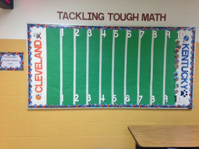 Football bulletin board, use your favorite teams and move kids along as they can read and write the numbers