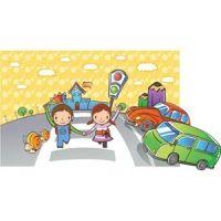 cute school baby crossing the road via zebra crossing vector kids illustration
