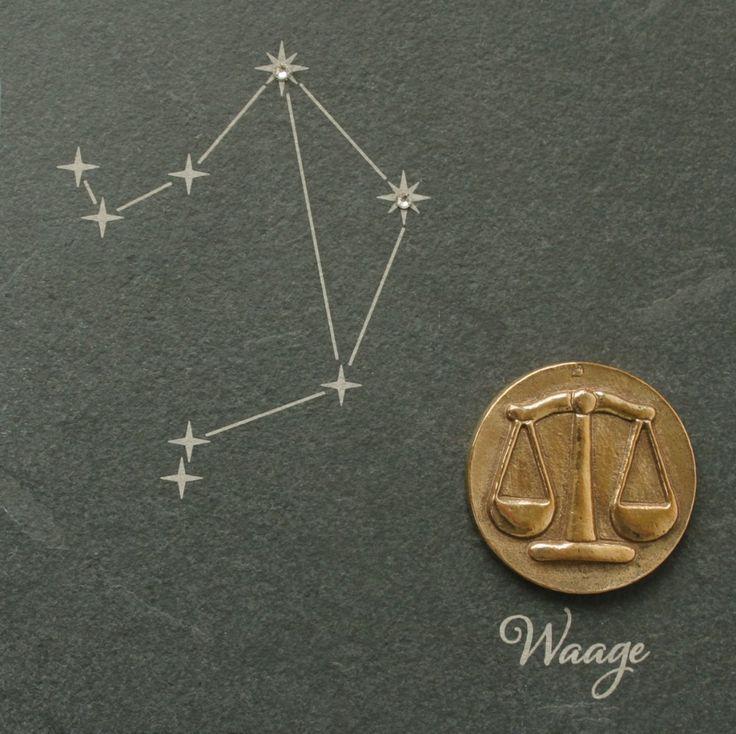 Wandrelief Sternzeichen Waage 14, 5 cm Schiefer Swarovski