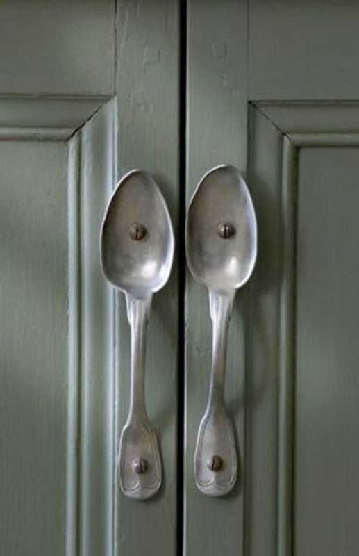 """old spoons as cabinet handles """"Ideas to change or to upgrade your room"""""""