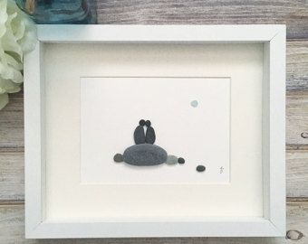 Kiesel Kunst Liebesvögel, romantisches Geschenk für paar, 3D Kunst, neue Zuhause Einweihungsgeschenk, Strand Stein Kunstwerk, einzigartige Home Decor, gerahmt Wall Art