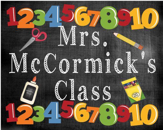 Teacher name sign class school chalkboard digital by ElainesCrafts