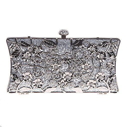 Fawziya Floral Clutch Bags For Girls Handbags Wholesale Purses-Silver