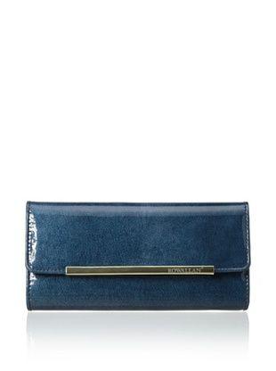 54% OFF Rowallan of Scotland Women's Annalisa Italian Patent Leather Tri-fold Wallet, Midnight Blue