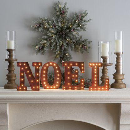 12 in. Rustic Red Metal Letter Noel Sign with Battery Operated LED Lights