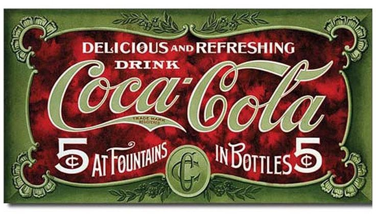 Coca Cola Metal TIN Sign Coke 5 Cent 1900s Advertising Retro Vintage Look #cocacola