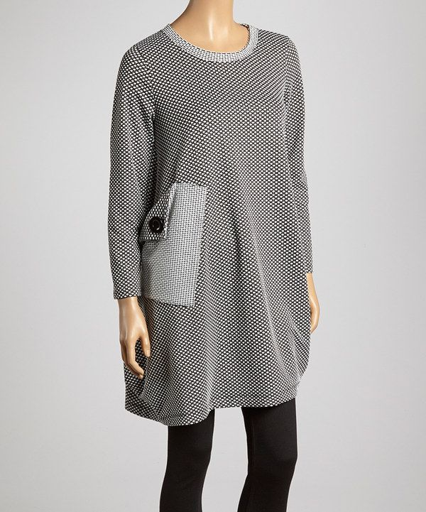 Look what I found on #zulily! Black & White Polka Dot Asymmetrical Tunic - Women & Plus by Come N See #zulilyfinds