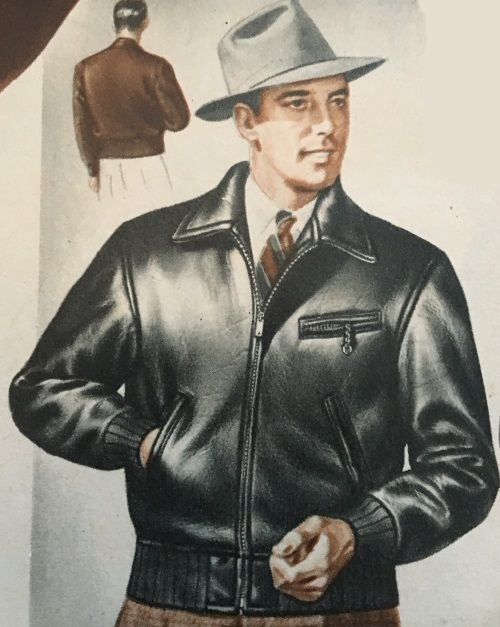 c47be5bd9e 1940s men's fashion- grey fedora hat and a black leather jacket. Casualness  and traditional hats didn't seen well paired by the young 1940s men