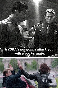 "Captain America: Winter Soldier spoilers. Steve Rogers realizes that Howard Stark really underestimated the HYDRA threat. (""Captain America 2: Starks are Wrong About Everything."")"