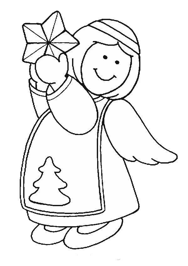 Angel Christmas With Large Star Coloring Pages For Kids Printable Angels