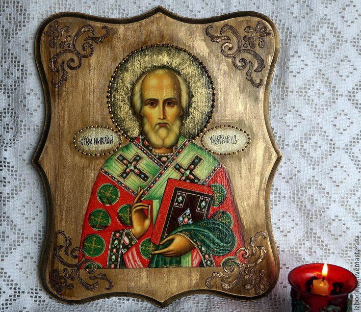 Купить Икона Николая Чудотворца - икона, Николай Чудотворец, николай угодник, николай, икона в подарок