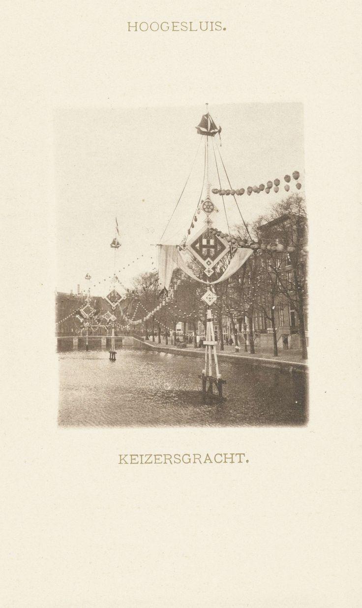 anoniem   Versiering van de Keizersgracht in Amsterdam, 5 februari 1901, feestelijkheden ter gelegenheid van het huwelijk van koningin Wilhelmina en prins Hendrik, attributed to Barend Groote & Co., 1901  