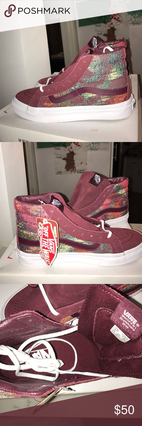 ✨🆕 Vans Slim Classic Burgundy High Tops✨ Brand new with out box. Have never been worn! Gorgeous color combo 👌 Suede and fabric material Vans Shoes Sneakers