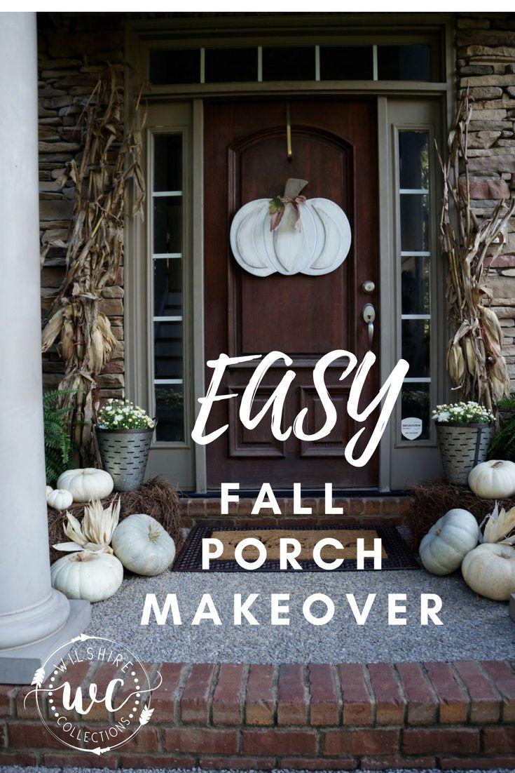 Door hanger fall front door decoration pumpkin door decoration - Fall Front Porch How To Decorate Front Door Autumn Pumpkin Corn Stalks