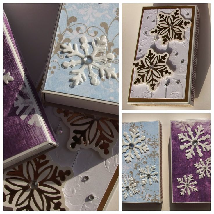 Matchbox with snow crystal paper decor
