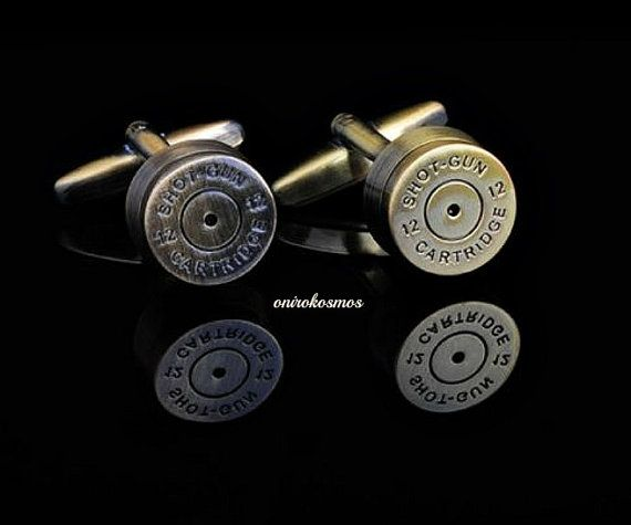 Novelty Vintage Brass Stainless Steel Shotgun Catridge Shell Bullet Shirt Cufflinks.