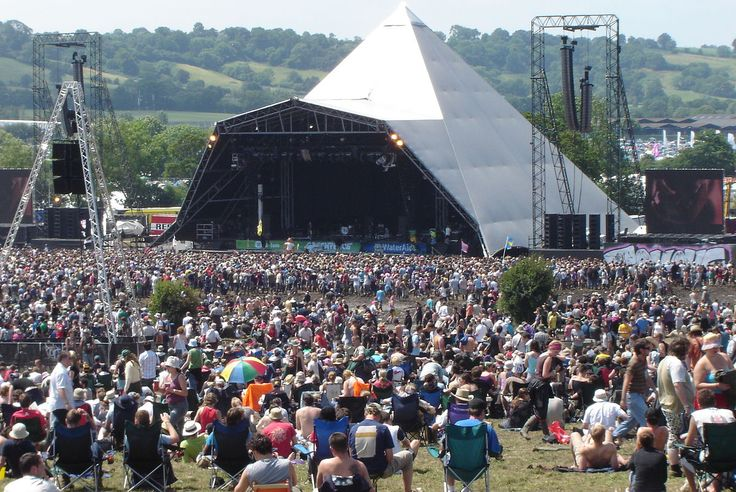 Glastonbury Festival is a five-day festival of contemporary performing arts that takes place near Pilton, Somerset.