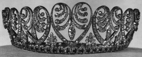 The Baden Palmette Tiara:  Created by Koch.  Provenance:  1. Grand Duchess Luise of Baden; from her father, Emperor Wilhelm I of Germany on the occasion of her 1856 marriage to Grand Duke Frederick of Baden.   2. Queen Victoria of Sweden; inherited from her mother in 1923.   3. Queen Ingrid of Denmark; inherited from her grandmother in 1930.   4. Queen Margrethe II of Denmark; inherited from her mother in 2000.