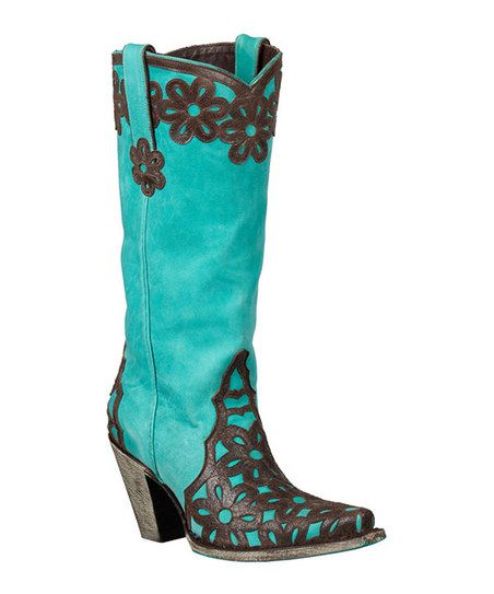 Turquoise & Chocolate Floral Jade Cowboy Boot - get ride of daisy flower & make the black more geometric- i just might try them.