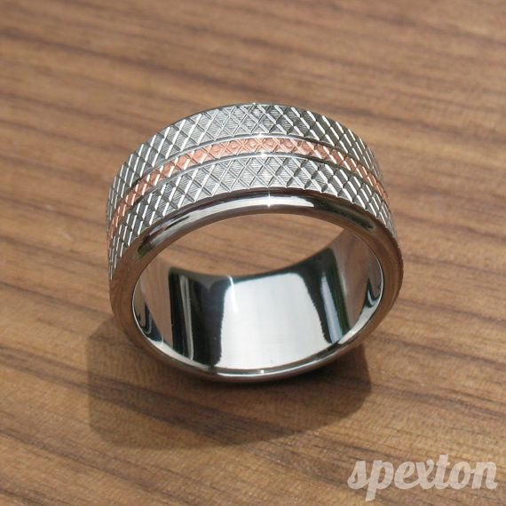 Stainless Steel and Copper Knurled Wedding Ring by spexton on Etsy