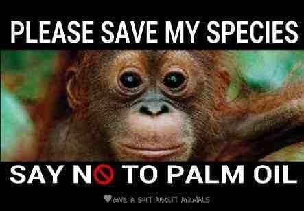 Please.....Say no to palm oil. Don't buy products made with vegetable oil (vegetable oil = palm oil).