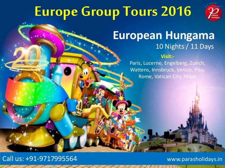 #EuropeGroupTours2016  #EuropeanTourPackages  #VacationinEurope Paras Holidays Offers European Group Tour Packages 2016 from Delhi India. Visit with us Europe Top Holiday Destinations at affordable prices.