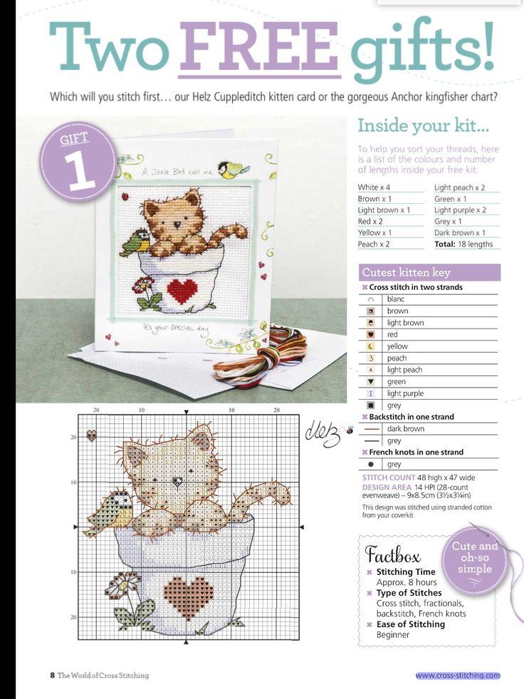 Cross stitch; cat, cup, pot, bird, heart, cute