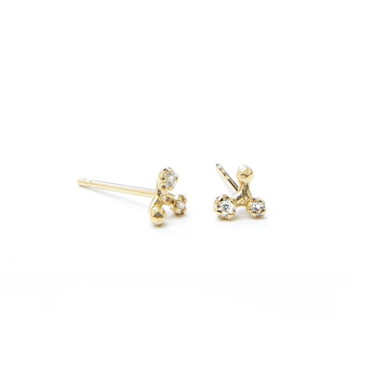 14K Triad Cluster Studs w/ Diamonds
