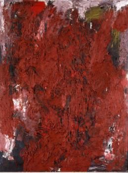 Board - 122 X 92 cm - Oorlog en geweld spelen een grote rol in Armando's werk. In de jaren vijftig maakte hij een serie schilderijen onder de titel 'Peinture criminelle'. Armando behoorde tot een andere, jongere artistieke generatie dan de COBRA. In zijn werk ging het niet langer om de voorstelling, maar om de expressieve kracht van de materie zelf. Het bloedrode oppervlak van dit paneel bestaat uit verf vermengd met zilverzand, dat zware, pasteuze lagen is opgebracht.