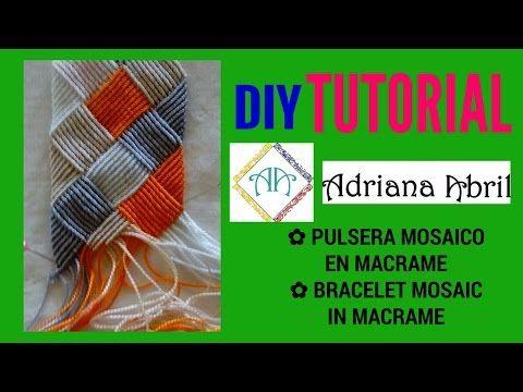 #13 PULSERA MOSAICO EN MACRAME ❤BRACELET MOSAIC IN MACRAME ❤MOSAICO NA PULSEIRA DE MACRAME - YouTube