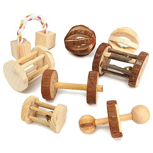 Natural Wood Mini Exercise Pet Chew Toys Teeth Care Molar Toy For