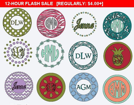 Monogram Circle Decal, Vinyl Decals, Personalized Sticker, Mug Decal, Custom skins, Yeti Decal, Stainless Tumbler Circle Monogram Stickers
