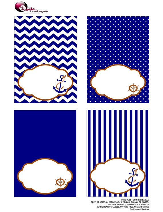 Nautical Food Tent Labels Blue Instant by ADTRCustomDesigns, $5.50