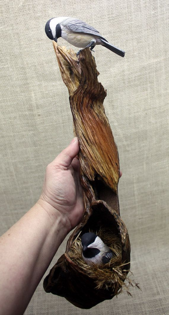 Chickadee Bird Wood Carving Hand Carved Wall by BerlinGlass