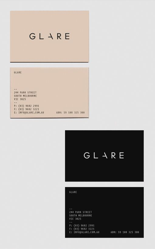 Identity for Glare…retailer of high-end luxury and sports performance sunglasses located in Melbourne